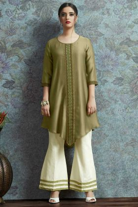 Sequence Work Olive Green Color Modal Satin Designer Semi Stitched Kurti With Palazzo