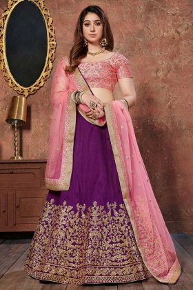 Sequence Work Purple Color Art Silk Wedding Lehenga Choli With Net Dupatta