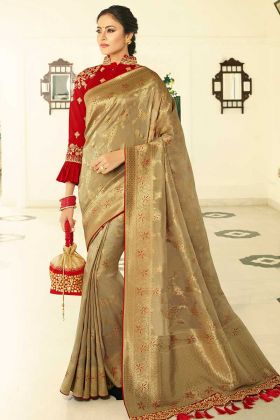 Sequind Work Golden Color Banarasi Silk Designer Saree