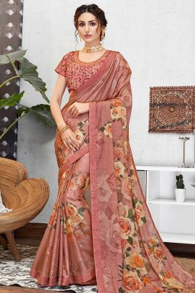 Sequined Silk Georgette Pink New Model Sarees