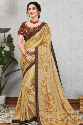 Sequined Silk Georgette Wedding Saree In Floral Design