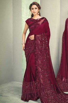 Sequins Embroidery Maroon Color Lycra Saree With Raw Silk Blouse