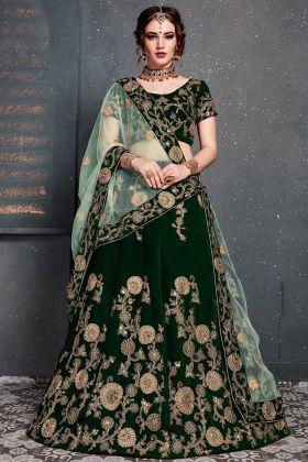 Sequins Embroidery Work Dark Green Color Velvet Lehenga
