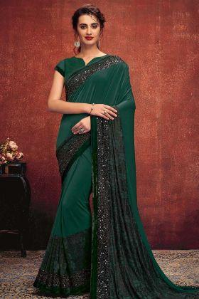 Sequins Embroidery Work Green Color Lycra Designer Saree