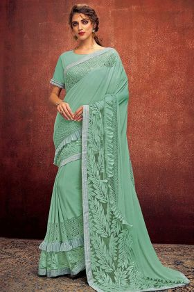 Sequins Embroidery Work Sea Green Color Lycra Ruffle Saree