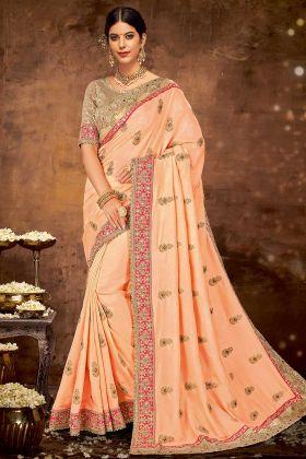 Sequins Embroidery Work Silk Georgette Peach Saree