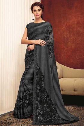 Sequins Work Grey Color Fancy Lycra Designer Saree