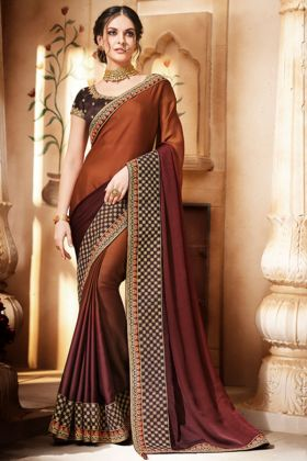 Shaded Satin Reception Saree Embroidery In Coffee Color