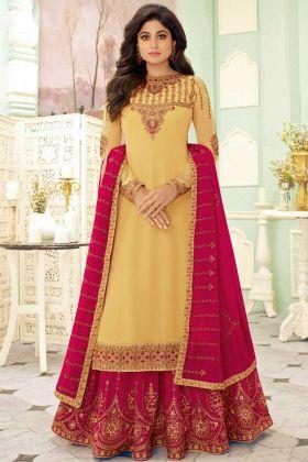 Shamita Shetty Yellow Georgette Bollywood Salwar Suit
