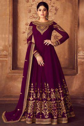 Shamita Shetty Anarkali Style Purple Wedding Party Wear Salwar Suit