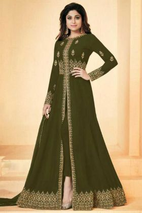 Shamita Shetty Party Wear Georgette Party Designer Suit In Green Color