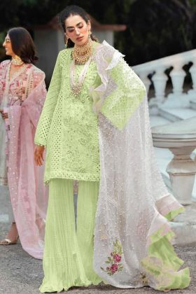 Sharara Salwar Kameez Cambric Cotton In Light Green