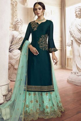 Sharara Suit In Georgette Teal Green Color