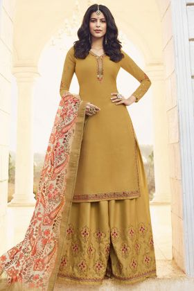 Sharara Dress Maslin Satin Georgette Mustard Yellow