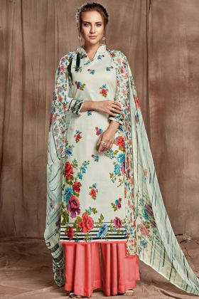 Sharara Suit Off White Cotton Digital Printed