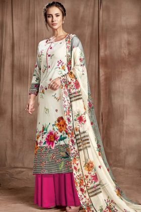 Sharara Suit Off White Digital Printed