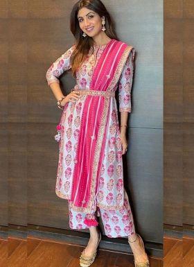 Shilpa Shetty Lavender Printed Palazzo Dress