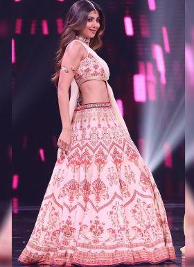 Shilpa Shetty Light Pink Printed Lehenga Choli