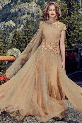 Shimmer Net Beige Partywear Designer Gown