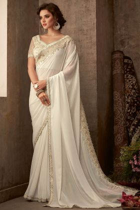 Shimmer Silk Wedding Saree Embroidery Work In Off White Color