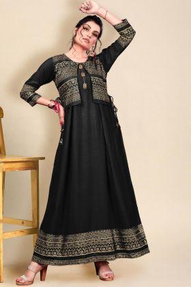 Shop Latest Black Color Heavy Rayon Long Anarkali Kurti Online 2021