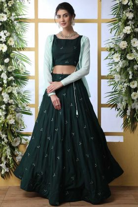 Short Jacket Party Wear Lehenga Choli With Dark Green Masiln Cotton