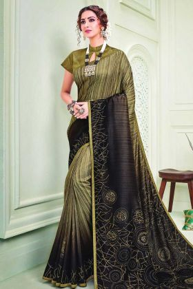 Silk Brown Musterd Festival Saree In Swarovski Work