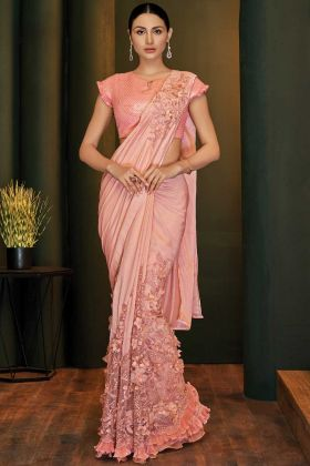 Silk Georgette Pink Color Fashion Designer Sarees