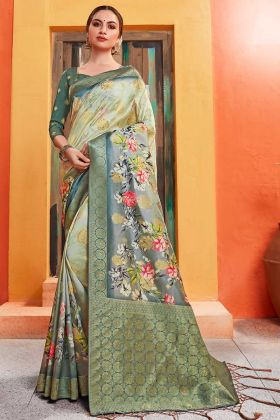 Silk Sarees Lemon Green In Digital Floral Print