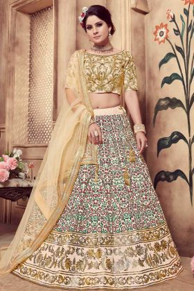 Silk Beige Wedding Lehenga Choli