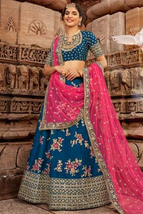 Silk Blue Wedding Heavy Lehenga Choli With Net Dupatta