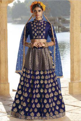 Silk Blue Wedding Lehenga Choli