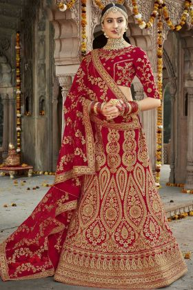 Silk Bridal Red Lehenga Choli