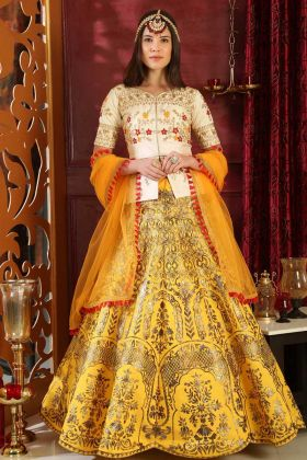 Silk Circular Lehenga Choli in White and Yellow Color