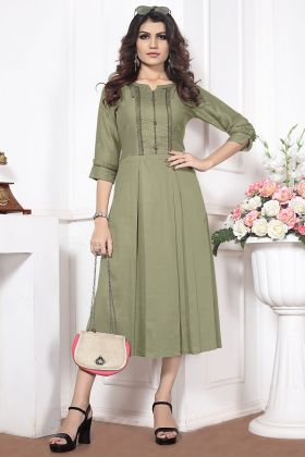 Silk Cotton Fancy Kurti Embroidery Work In Sea Green Color