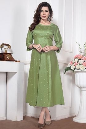 Silk Cotton Stylish Kurti Pista Color With Embroidery Work