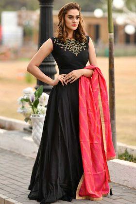 Silk Designer Fancy Gown Black Color