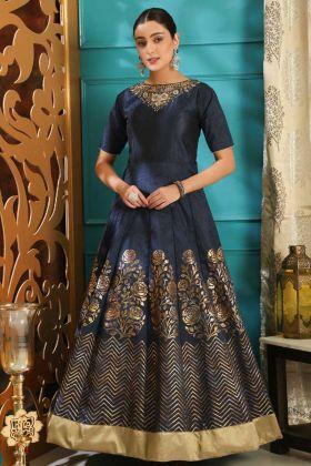 Silk Designer Gown In Navy Blue Color
