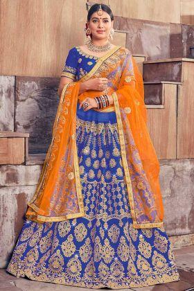 Silk Designer Lehenga Choli Heavy Zari Embroidery Work In Blue Color