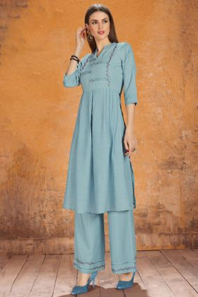 Silk Designer Palazzo Kurti Set Embroidery Work In Sky Blue Color