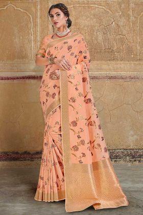 Silk Designer Saree Embroidery Work In Peach Color