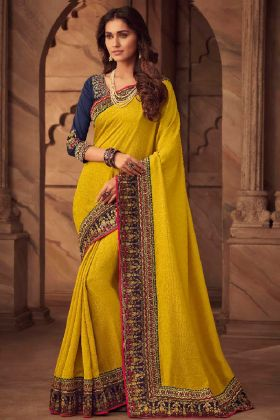 Silk Designer Saree Embroidery Work In Yellow Color