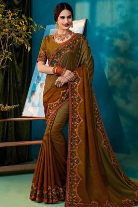 Silk Designer Saree In Multi Color With Jari Thread Work