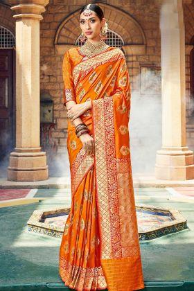 Silk Designer Saree Jacquard Work In Orange Color
