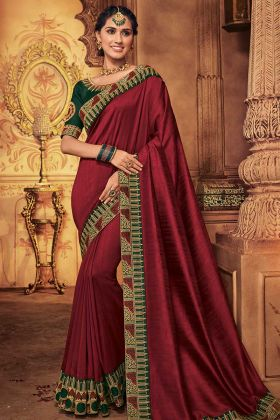 Silk Designer Saree Maroon Color With Stone Work