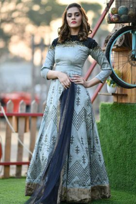 Silk Fancy Designer Gown Grey Color