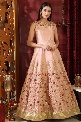 Silk Fancy Gown Latest Collection Peach Color