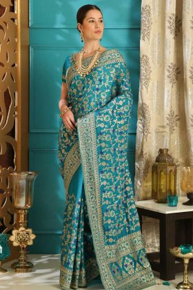 Silk Fancy Wedding Saree Sky Blue Color With Blouse