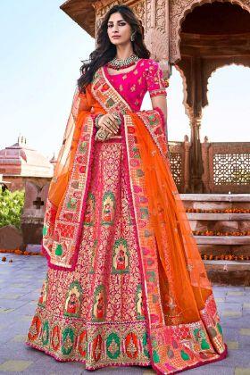 Silk Festival Lehenga Choli Pink Color With Weaving Work