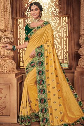 Silk Festival Saree Embroidery Work In Yellow Color